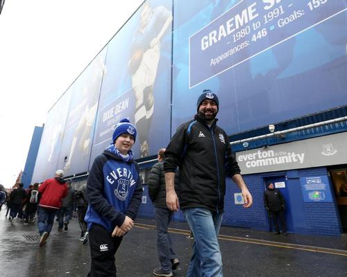Everton fans outside the club's current stadium, Goodison Park / Martin Rickett/PA Wire/PA Images