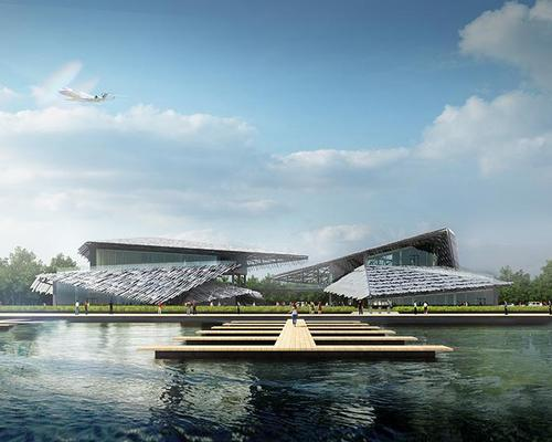 The centre will double as a depot for the lake's fleet of boats / Kengo Kuma and Associates