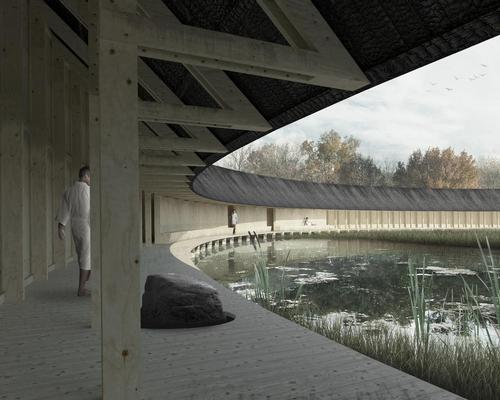The primary gesture of the project is a circular promenade that unites each functional space of the spa / Bee Breeders