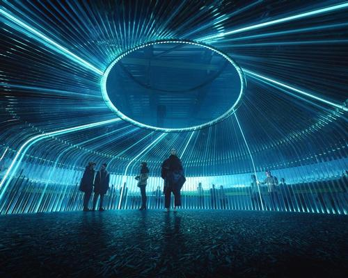 The images reveal a domed tent-like space, surrounded on the outside by a 360 degree display screen / Asif Khan