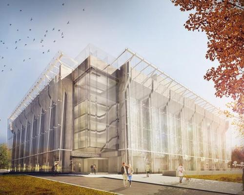 Architecture studio Lemay have released new visualisations of the glass envelope / Grand Théâtre de Québec