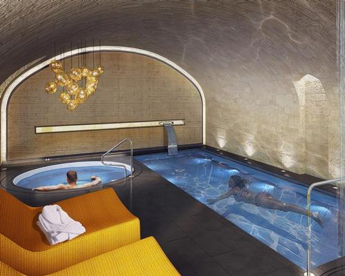 The spa includes three treatment rooms, a sauna, hammam, relaxation pool and resistance pool