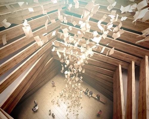There is space for large installations to be held within the light-filled wooden exhibition volumes / Kengo Kuma and Associates