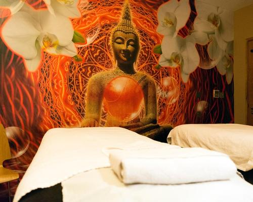 The Hilton location includes three treatment rooms, including a double room with a Buddha mural, and uses Sothys skincare in its treatments along with its own branded line