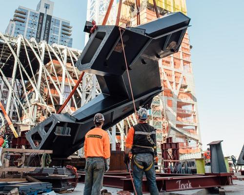 The first pieces of the sculptural urban landmark were placed together earlier this week on Manhattan's West Side / Joe Woolhead