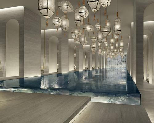 The two-level spa will have seven treatment rooms and two luxury spa suites, as well as a hammam, yoga studio, and indoor and outdoor pools