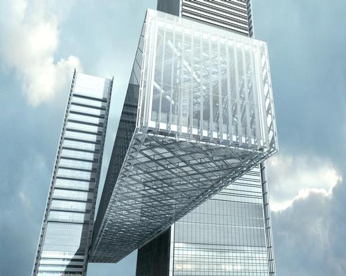 The Linx will reinforce the structural stability of both towers with its diagonal tube structure / Nikken Sekkei