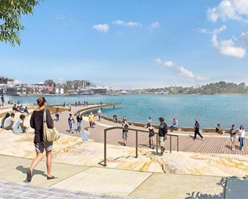 The design includes Waterman's Cove, a fully-accessible amphitheatre-style boardwalk on the water / Barangaroo Delivery Authority
