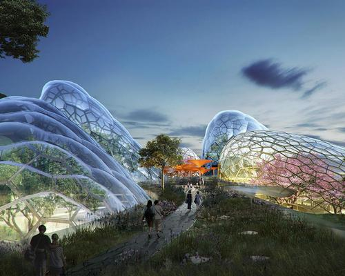 At the heart of the landscape will be a conservatory complex comprising five glass biomes, each housing tropical plant collections and water gardens / Grant Associates