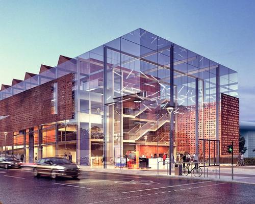 To promote transparency and openness and respect the surrounding context, the building will be wrapped on two sides by the glazed atrium entrance and circulation space / Scott Brownrigg