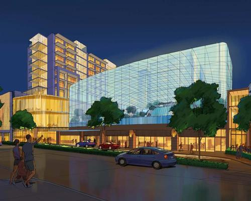 The glass-encased waterpark will be the anchor for the mixed-use development