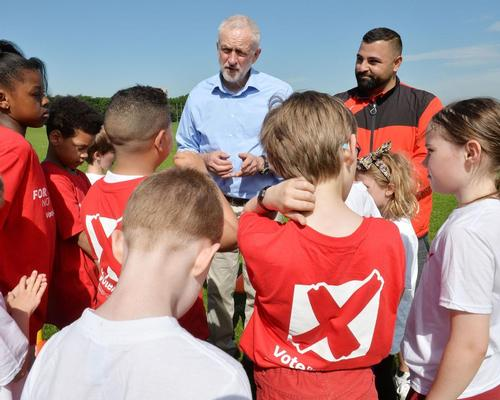 Labour leader Jeremy Corbyn unveils his vision for grassroots sport during the election campaign / John Stillwell/PA Wire/PA Images