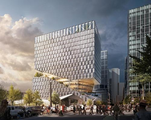 The building will be split by cascading exterior terraces / OMA