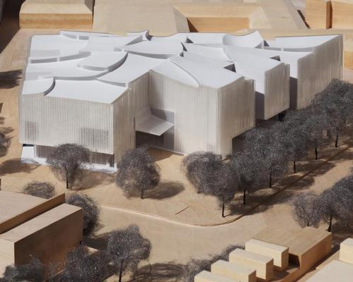 . Concave curves inspired by cloud circles will push down on the roof geometry, the spaces in between them allowing natural light to slip in / Steven Holl Architects
