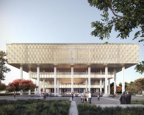 Louvres will be decorated with traditional local window patterns to 'represent the meeting of cultures, generations and histories of the city' / Mecanoo