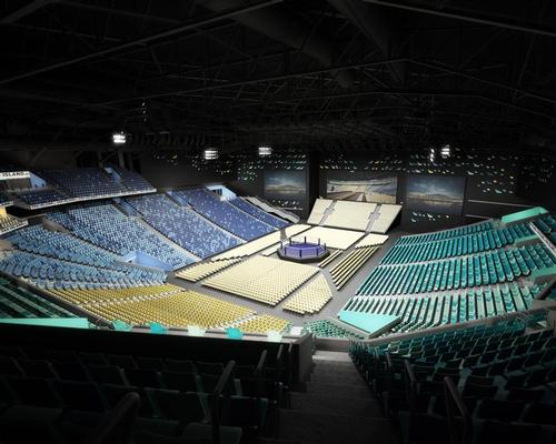 The capacity of the arena can be as large as 18,000 or as small as 500