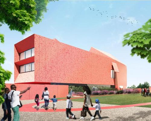 The crimson-hued concrete building will house the Linda Pace Foundation's growing collection of more than 800 paintings, sculptures and installations