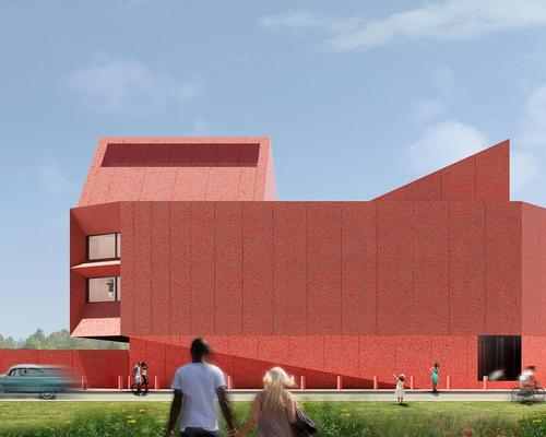 The vision of a sparkling crimson building appeared to Linda Pace in a dream, and this was interpreted by David Adjaye / Adjaye Associates