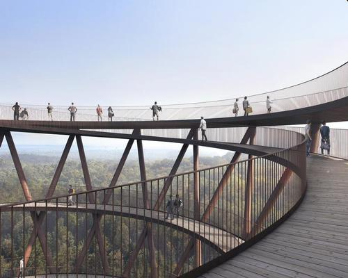 Called the Treetop Experience, it will consist of a 600m long (2,00ft) two-tier elevated walkway that leads visitors around the woodlands / EFFEKT