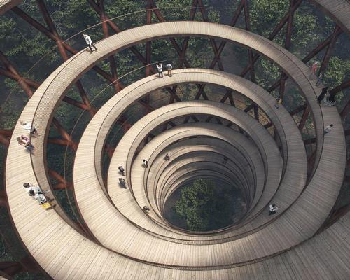 The spiralling tower will climb 45m tall (147.6ft) tall / EFFEKT