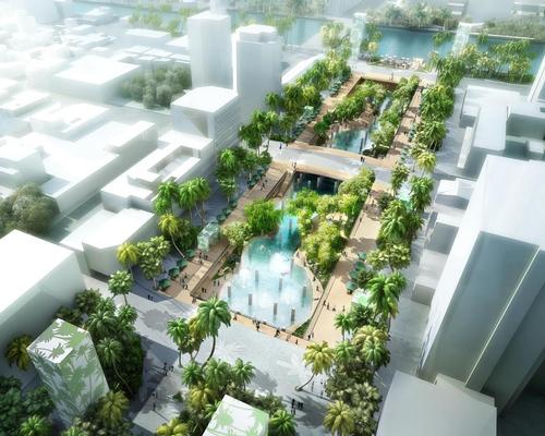 A new public square will be centred around the lush, green artificial lagoon – created by flooding the former underground car park of a city mall / APLUS CG