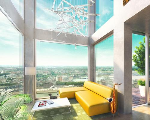 Inside The Sax, all the apartments have 270-degree panoramic views of the River Maas and the city beyond / MVRDV