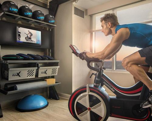 The Five Feet to Fitness concept brings more than 11 different fitness equipment and accessory options into the hotel room / Hilton