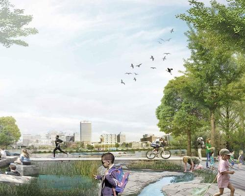 The concept offers 'a series of actionable ideas meant to help the riverfront achieve its potential as a shared, connected civic space' / Studio Gang