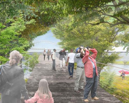 The project was commissioned for city mayor Jim Strickland's Riverfront Task Force by the Riverfront Development Corp, with support from the Hyde Family Foundation and the Kresge Foundation / Studio Gang