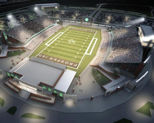The 12,000 capacity stadium will feature split-level seating for the home side, a two-storey press box and scouting and community rooms / Huckabee