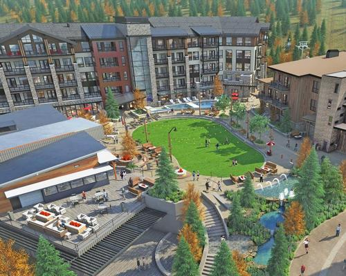 An artist's conceptual rendering of the forthcoming development at Snowmass / Snowmass Base Village