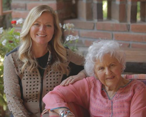 The segment that's nominated for the Emmy features spa and wellness industry icon Deborah Szekely (right), co-founder of the iconic Rancho La Puerta in Mexico, shown here with Koerner