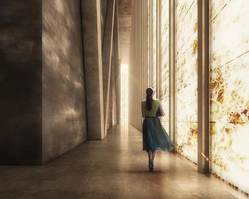 Daylight will illuminate the interior of the Perelman Performing Arts Center through the marble façade / Luxigon