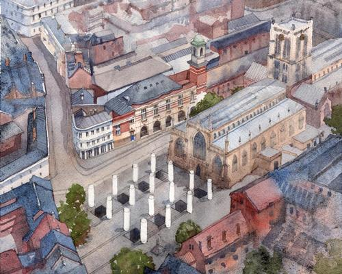 A Hall for Hull will transform Trinity Square with sixteen galvanised steel columns arranged in a grid formation / Pezo von Ellrichshausen