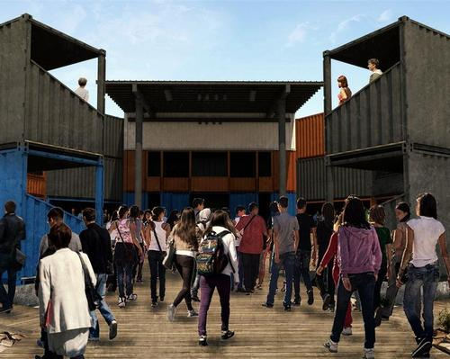 The galleries, stage and backstage areas of the Detroit iteration will all be created using stacked and fastened shipping containers / Container Globe