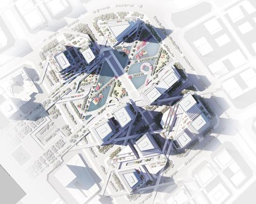 The buildings will be set around a central urban park and vary in height between 278 and 428 metres / Mecanoo