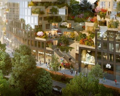 "The public will access the building from street level, via a pedestrianised path that climbs up to an outdoor ""central valley"" spread across the 4th and 5th levels / MVRDV"