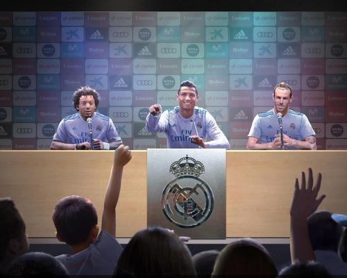 Guests will be able to interact with their favourite Real Madrid player by augmented reality in a mock up press conference / iP2 Entertainment