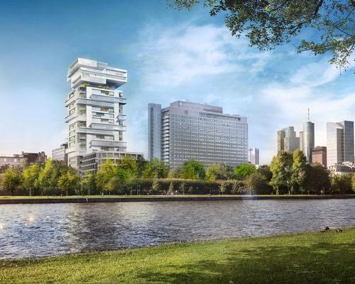 Prominently located on the banks of the river Main, with a height of almost 100m (328ft), the tower will offer sweeping views of the city's striking skyline / Buro Ole Scheeren