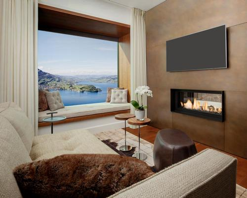 In the Burgenstock Hotel, the whole design is focused on the view, with all the rooms oriented to look onto the lake