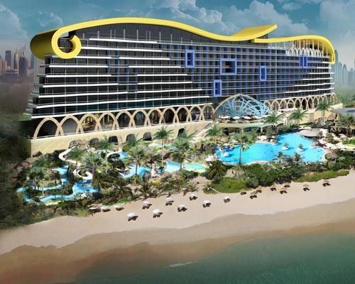 A large beachfront waterpark is included in the plans, as well as multiple restaurants, a kids club, spa, fitness centre and business facilities