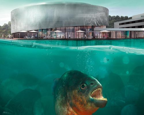 Richter Dahl Rocha & Associates designed the aquarium building, covered with 100,000 aluminium discs