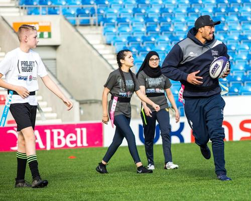 Solomona at the launch of Project Rugby at the AJ Bell stadium in Barton-upon-Irwell, Eccles