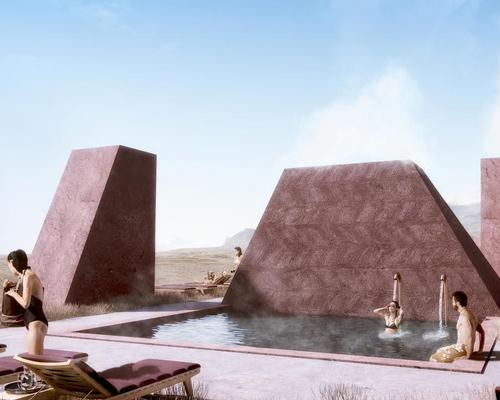 The building will be an industrial interpretation of the rocky landscape, 'with heavy geometric shapes shooting up from the ground like sculptural rock formations' / Ikonoform