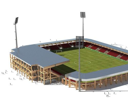 The stadiums can be assembled in just 6-8 months and are made from timber / Bear Stadiums