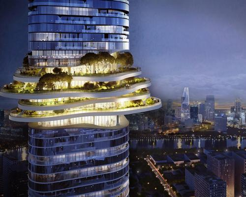 A series of landscaped public platforms will be built across several levels three-quarters of the way up the tower / Buro-OS