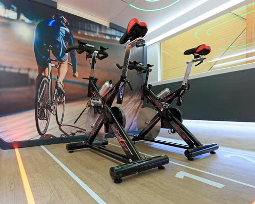 The train features sports cabins with a digital fitness coach and spin bikes