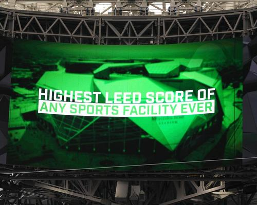 The stadium proudly displays its new achievement on the LED big screen / HOK
