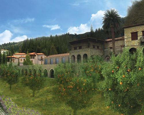 Situated in a valley on the edge of the Byzantine town of Mystras, a 13th century Unesco World Heritage Site, Euphoria Retreat has been created in harmony with the surrounding environment of mountains and citrus groves