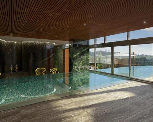The spa's USP will be a unique indoor-outdoor swimming pool offering views over the city